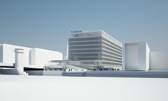 Det tidligere Nordea-hovedkvarter, i folkemunde kaldet Ørkenfortet, bliver ombygget til hotel. Hilton Copenhagen City skal stå klar i 2020. (Illustration: BC Hospitality Group)