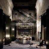 Illustration af lobbyen i Hermann K, der åbner i juni. Det bliver folkene bag Restaurant Kadeau, der skal drive restauranten på byens nye 5-stjernede hotel. (foto: Brøchner Hotels)