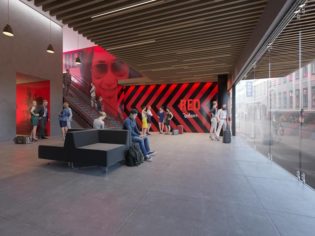 Nogenlunde dette syn venter gæster, der fra efteråret 2019 træder ind ad døren på Nordens første Radisson RED i Aarhus. Illustration: Luplau & Poulsen / Dimension Design.