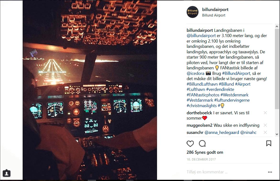 """4 Instagram udsigt fra cockpittet udover landingsbanen 18122017  Sociale Medier, Instagram, Henrik Meisel, Finnair, Facebook, BLL - Billund Lufthavn Billund Lufthavn stormer frem på sociale medier: """"Fly virker som nuttede katte ..."""" tema-saadan-faar-vi-succes-paa-de-sociale-medier 4 - Instagram---udsigt-fra-cockpittet-udover-landingsbanen 18122017"""