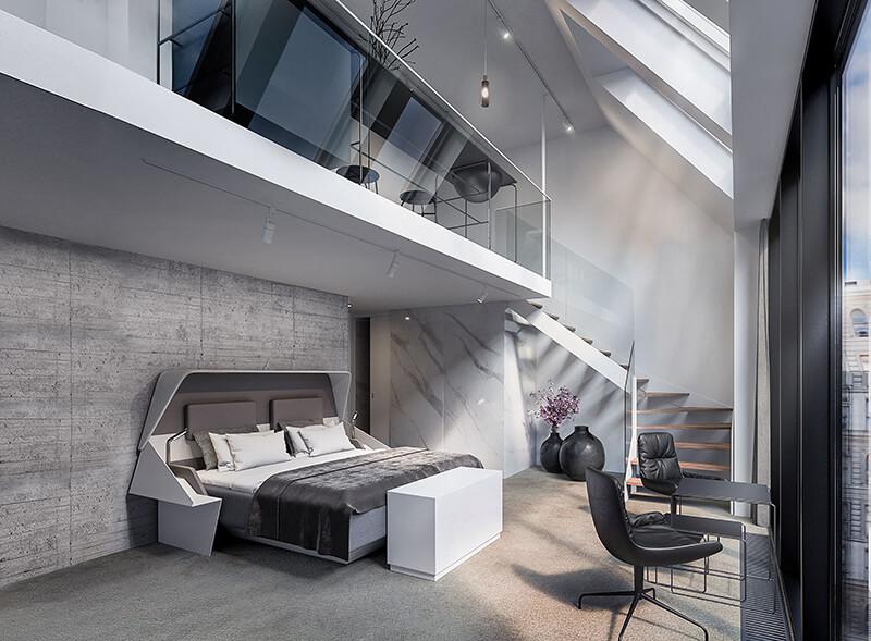 Et kig ind i penthousesuiten på Hotel Hermann K, der netop er åbnet i København. (PR-foto)