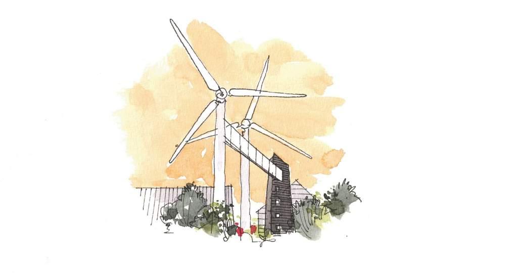 Overnatning og formidling – ombyggede vindmøller kan få helt nye funktioner lokalt på Lolland. (Illustration: REEL Lolland.dk)