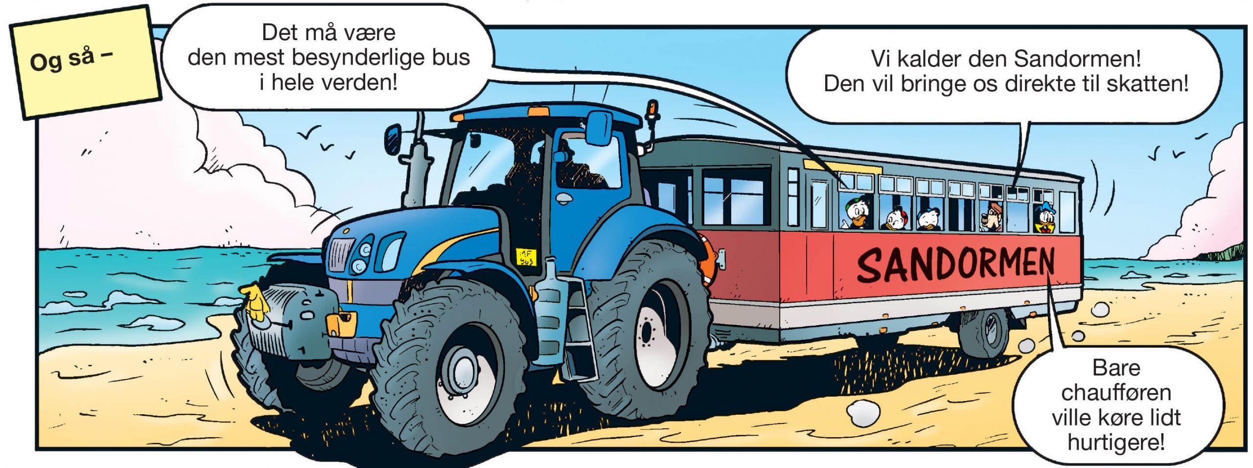 Anders And og ungerne kommer i denne uge bl.a. ud at køre i Sandormen. (Illu: AA45/Egmont)