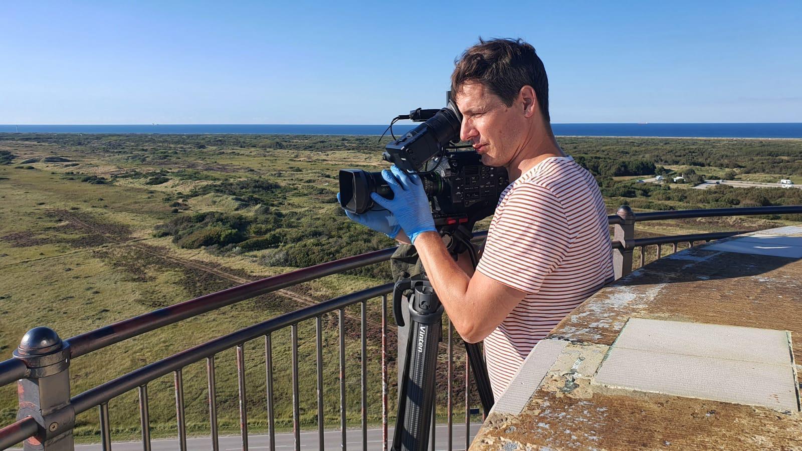 Optagelser til programmet Rejsekammerater ved Det Grå Fyr i Skagen. (Foto: Birgitte Bak Aastradsen)